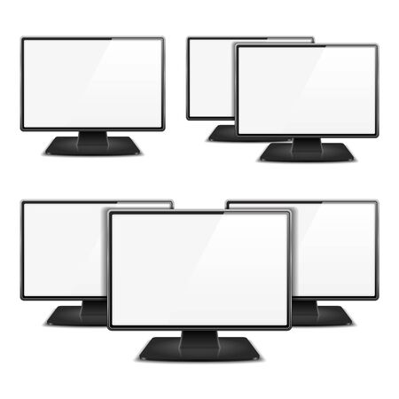 Computer monitors on white background Vector