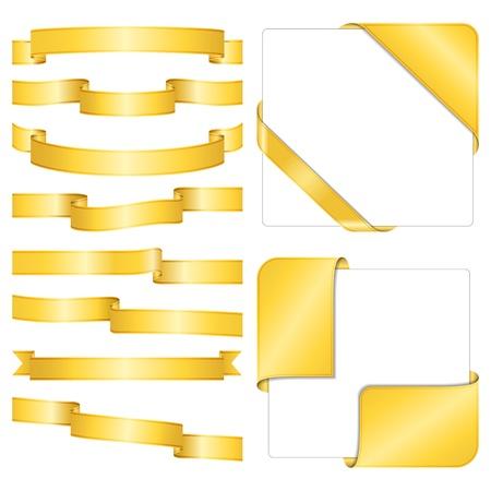 gold ribbon: Set of different golden ribbons on white background Illustration