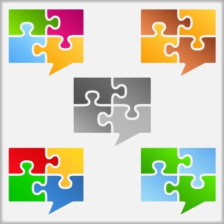 piezas de rompecabezas: Burbujas de discurso de las piezas del rompecabezas