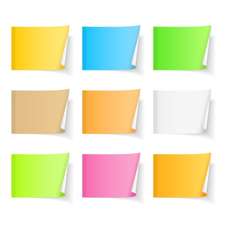 postit note: Set of blank colored sticky notes with curl on white background
