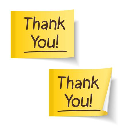 Words  Thank You  on yellow sticky note Vector