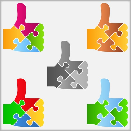 great success: Set of abstract puzzle thumbs up icons
