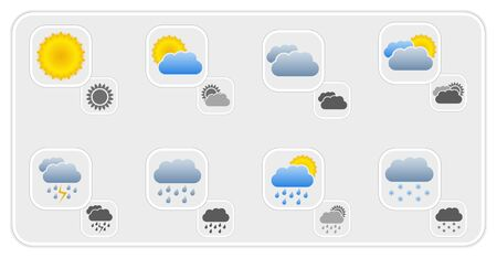 Set of weather icons, color and gray versions Stock Vector - 18024191