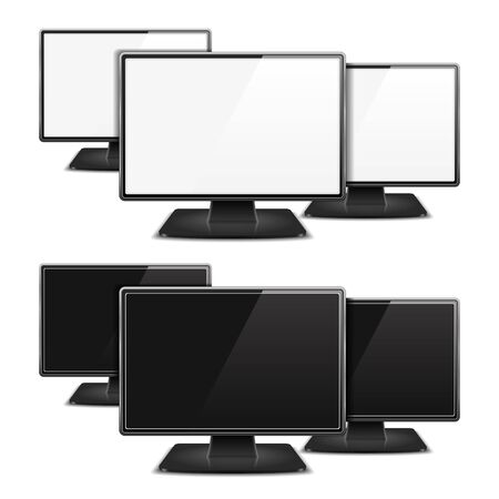 Three computer monitors with white and black screens Stock Vector - 18167413