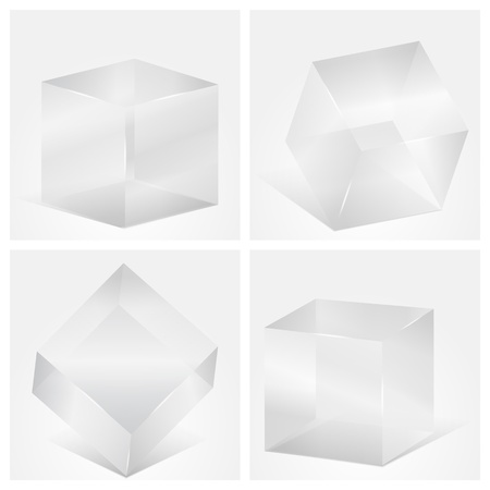 Four transbarent gray glass cubes Vector