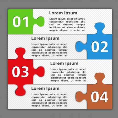 red puzzle piece: Template of design with four puzzle pieces