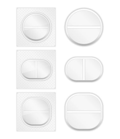 Different pills on white background Vector