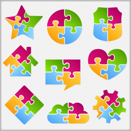 Set of different objects made of puzzle pieces Vector
