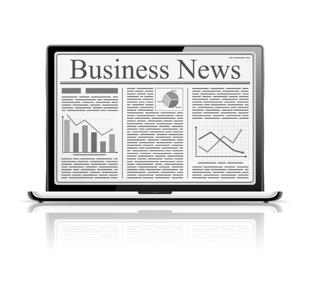 title page: Business news on the screen of laptop
