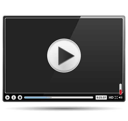 Black video player template on white background Vector