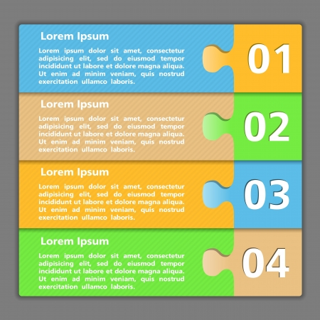 Template of design with four elements made of puzzle pieces Vector