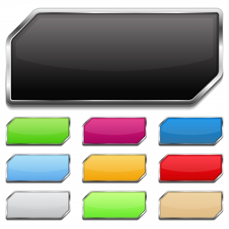 rectangle button: Set of colored glossy buttons with metallic frame and shadow