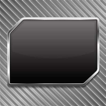 Black frame on a striped metallic background Stock Vector - 18460050