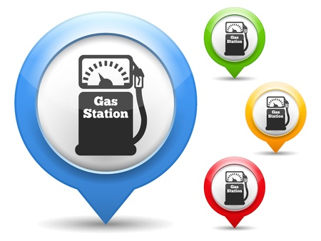 map marker: Map marker with icon of a gas station Illustration