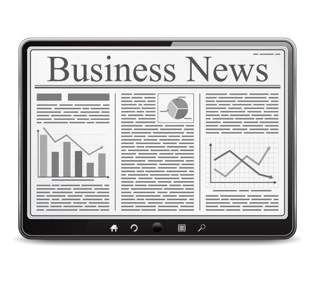 newsletter: Business news on the screen of tablet computer