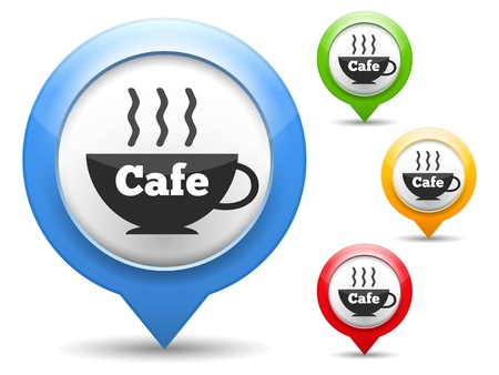 Map marker with icon of a cafe Stock Vector - 18460058