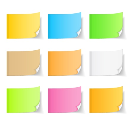 adhesive: Colored sticky notes with curl