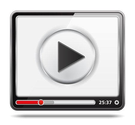 video player: Black video player with white screen, video player icon