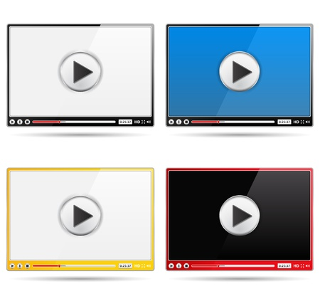 Four different video player templates Vector