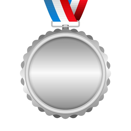 Silver medal with ribbon on white background Vector