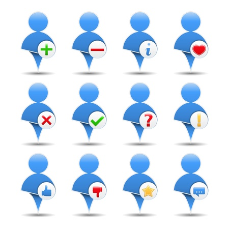 Blue icon of a user with different symbols Stock Vector - 18616793