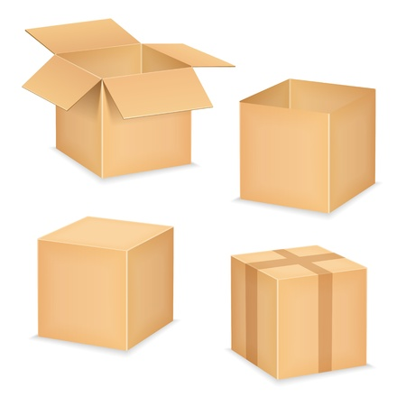 cube box: Open and closed cardboard boxes