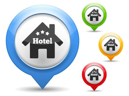 Map marker with icon of a hotel Vector