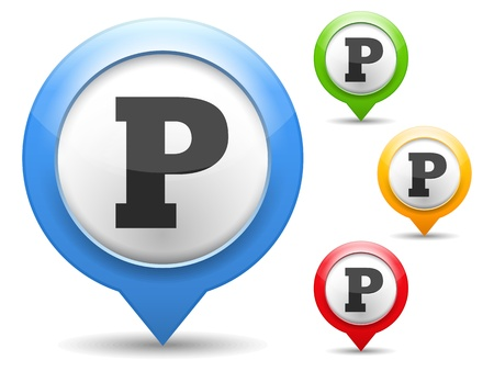map marker: Map marker with parking icon Illustration