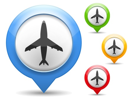 map marker: Map marker with icon of airplane