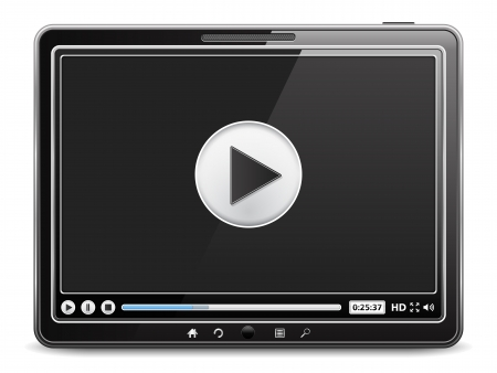 pause button: Tablet computer with video player on the screen