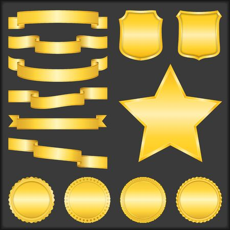 Golden Ribbons, Shields, Stars and Badges Vector