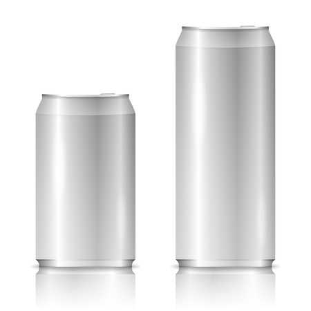 beer can: Aluminum cans on white background