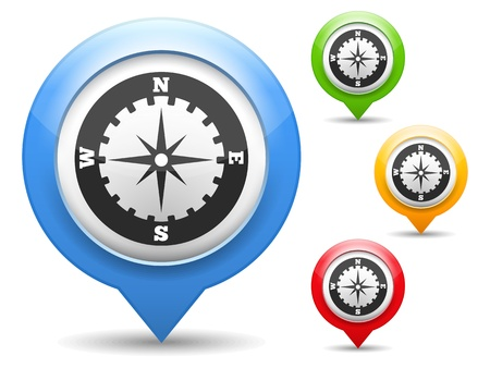 map marker: Map marker with icon of a compass Illustration