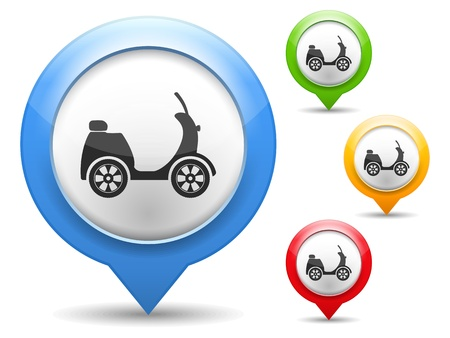 Map marker with icon of a scooter Vector
