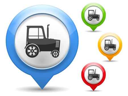 Map marker with icon of a tractor Vector
