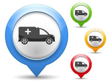 Map marker with icon of a ambulance Vector