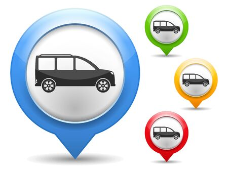 pin point: Map marker with icon of a car