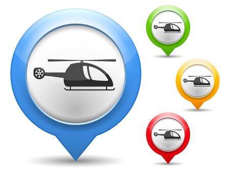 Map marker with icon of a helicopter Stock Vector - 18916338