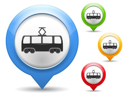 trams: Map marker with icon of a tram Illustration