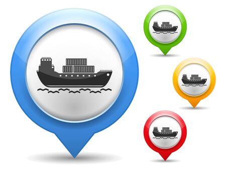 はしけ: 輸送船のアイコンの付いたマップ マーカー  イラスト・ベクター素材