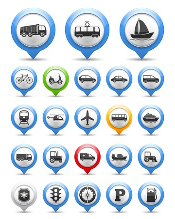 Collection of map markers with transport icons Vector