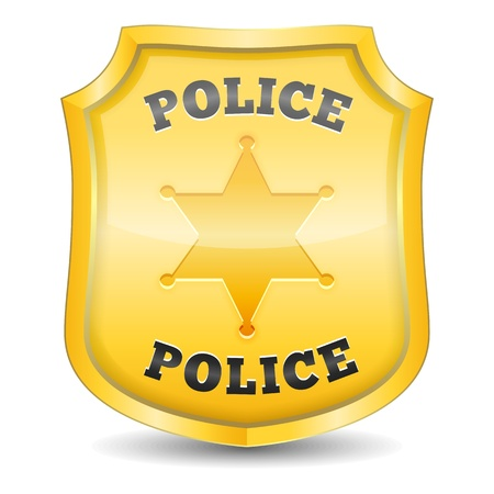 police icon: Golden police badge