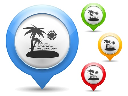 map marker: Map marker with icon of a beach