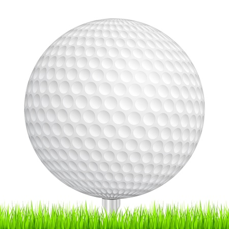 Golf ball in a green grass Vector