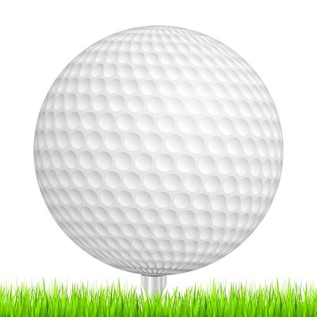 balle de golf: Une balle de golf dans une herbe verte Illustration