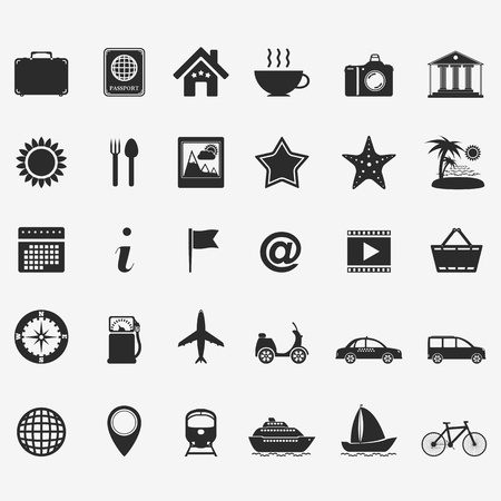 railroad station: Collection of travel icons Illustration
