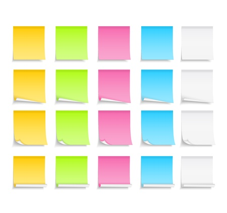 postit note: Set od different colored post-it notes