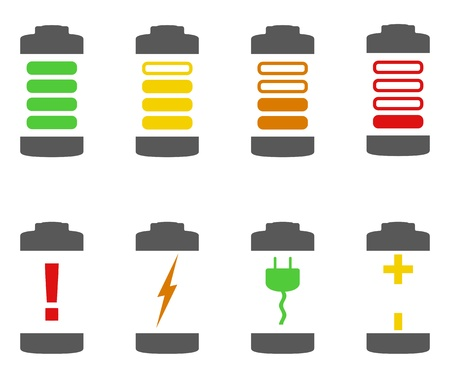 charge: Battery Icons Illustration