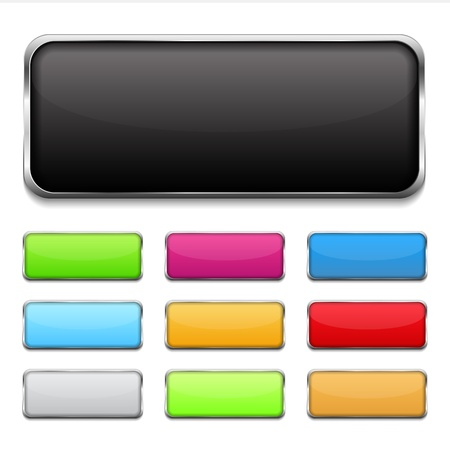Buttons with metallic frame Vector