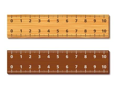 Houten linialen op witte achtergrond Vector Illustratie